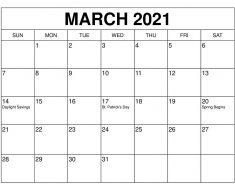 March 2021 Calendar Template Cute