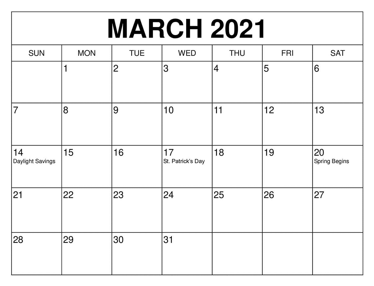March 2021 Calendar Template Cute