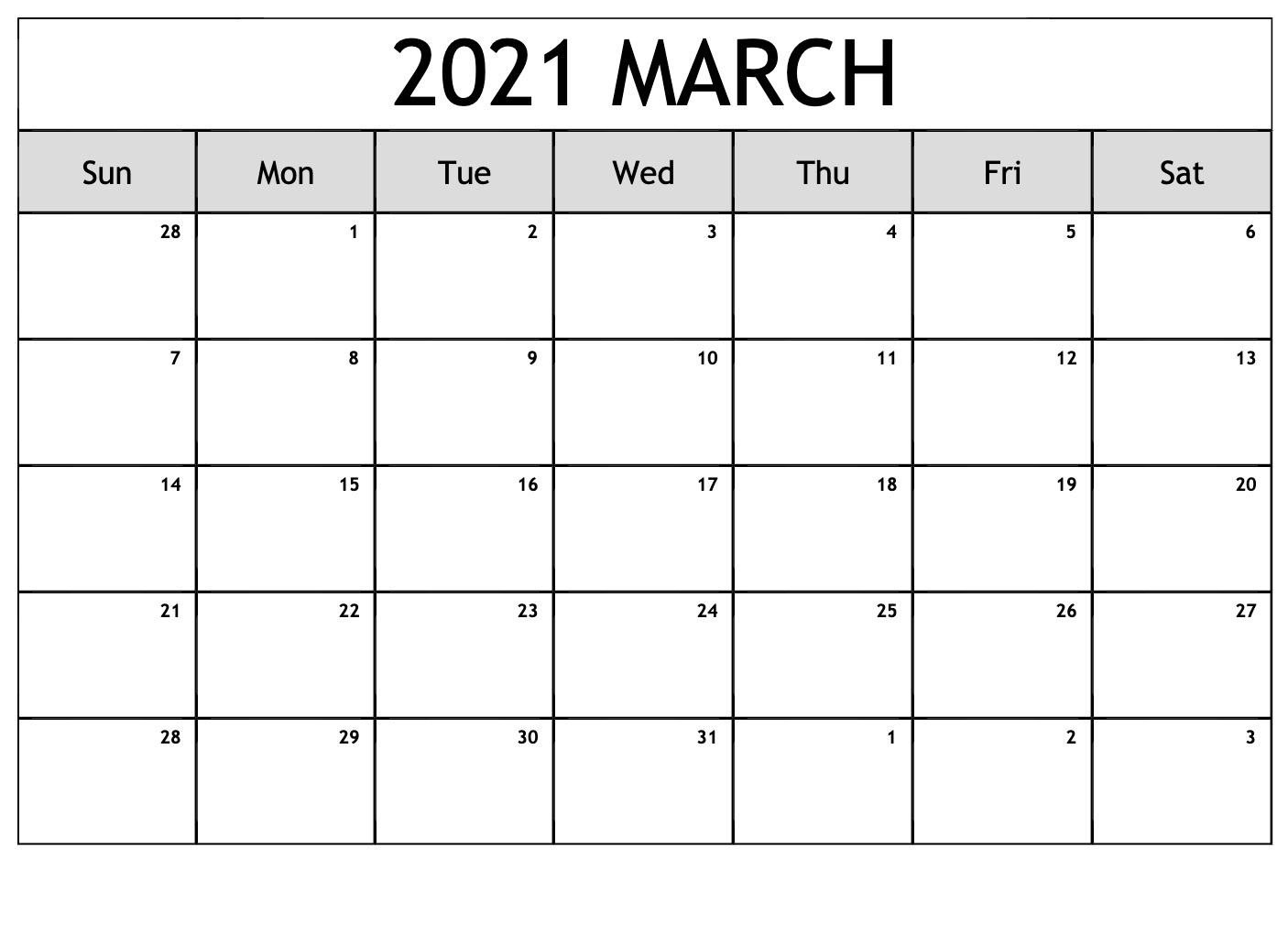 March 2021 Calendar Template Monday Start