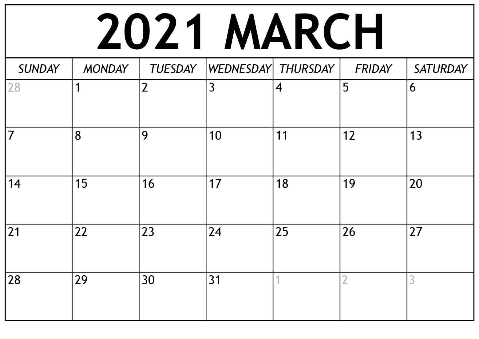 March 2021 Calendar Template Word