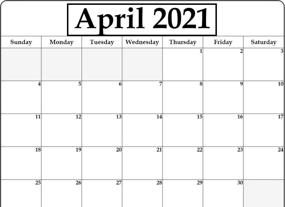 April 2021 Blank Calendar Excel