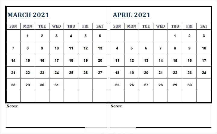 April 2021 Blank Calendar For Meeting