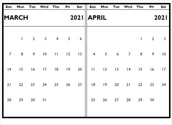 April 2021 Blank Calendar For Office