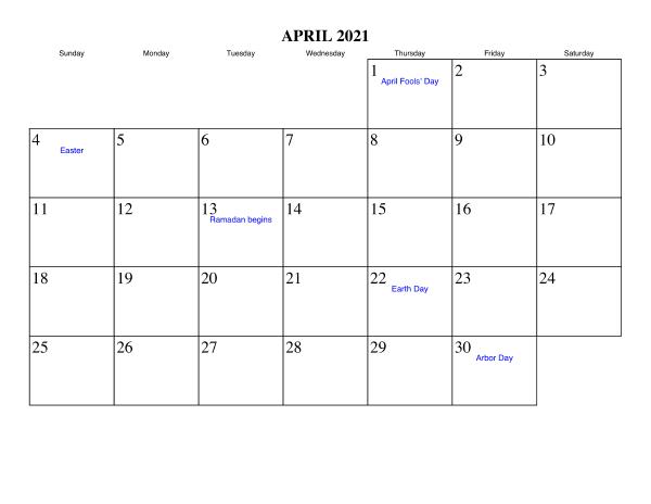 April 2021 Blank Calendar Print