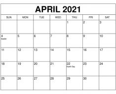 April 2021 Blank Calendar Printable