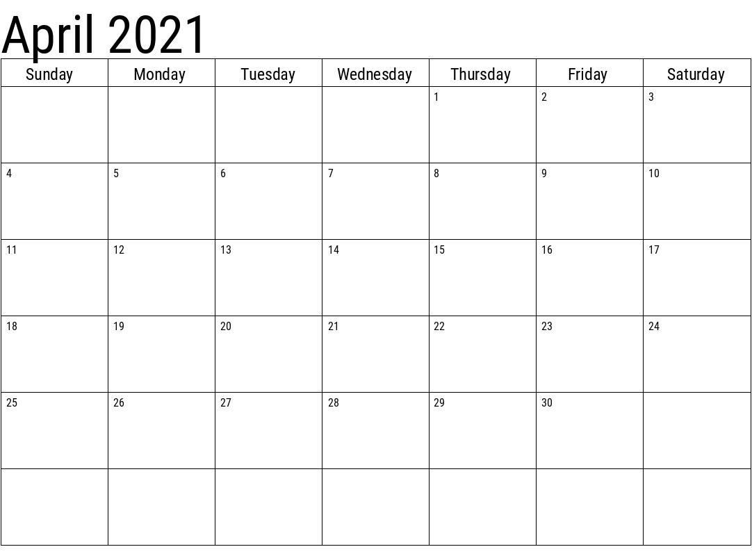 April 2021 Blank Calendar Wallpaper
