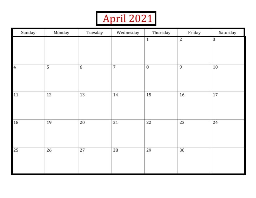 April 2021 Blank Calendar With Holidays