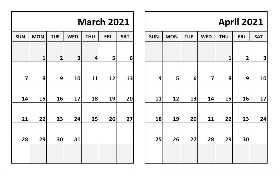April 2021 Blank Calendar Word