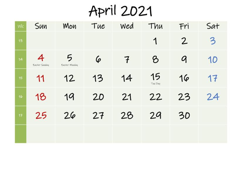 April 2021 Calendar Printable Blank
