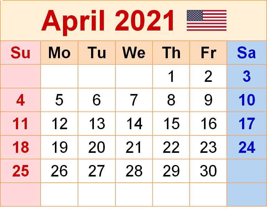 April 2021 Calendar Printable Cute