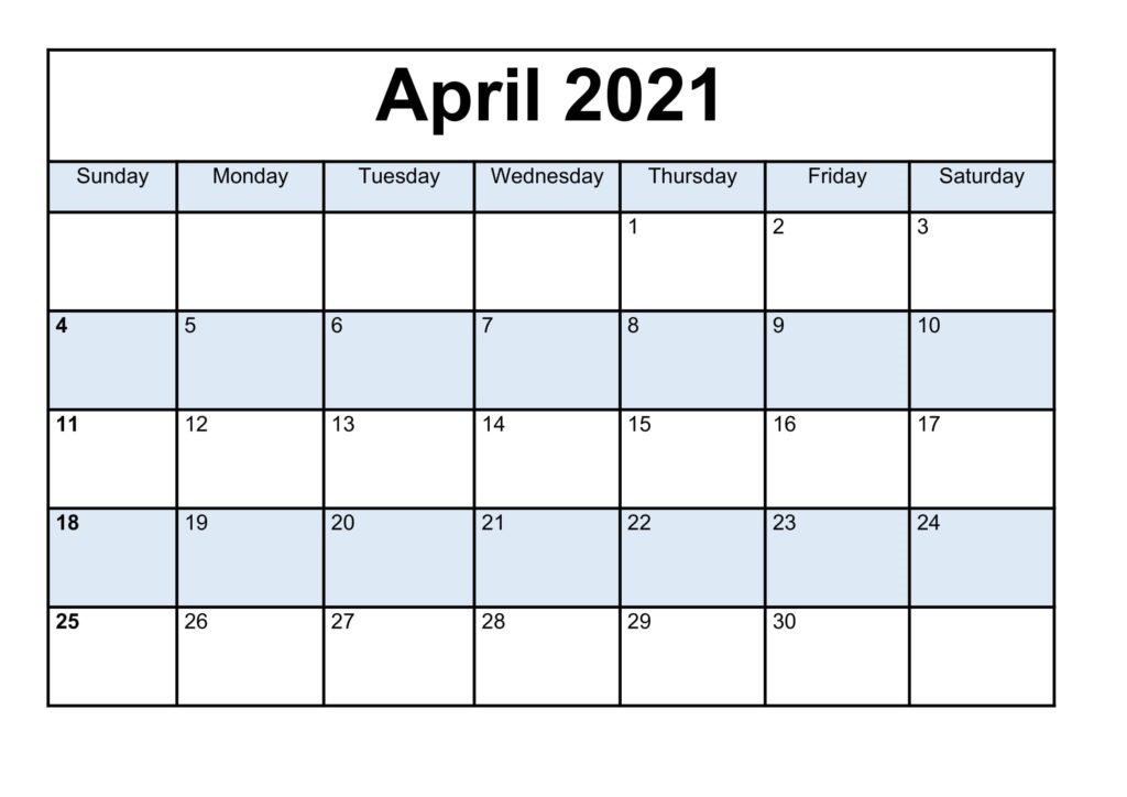 April 2021 Calendar Printable Excel