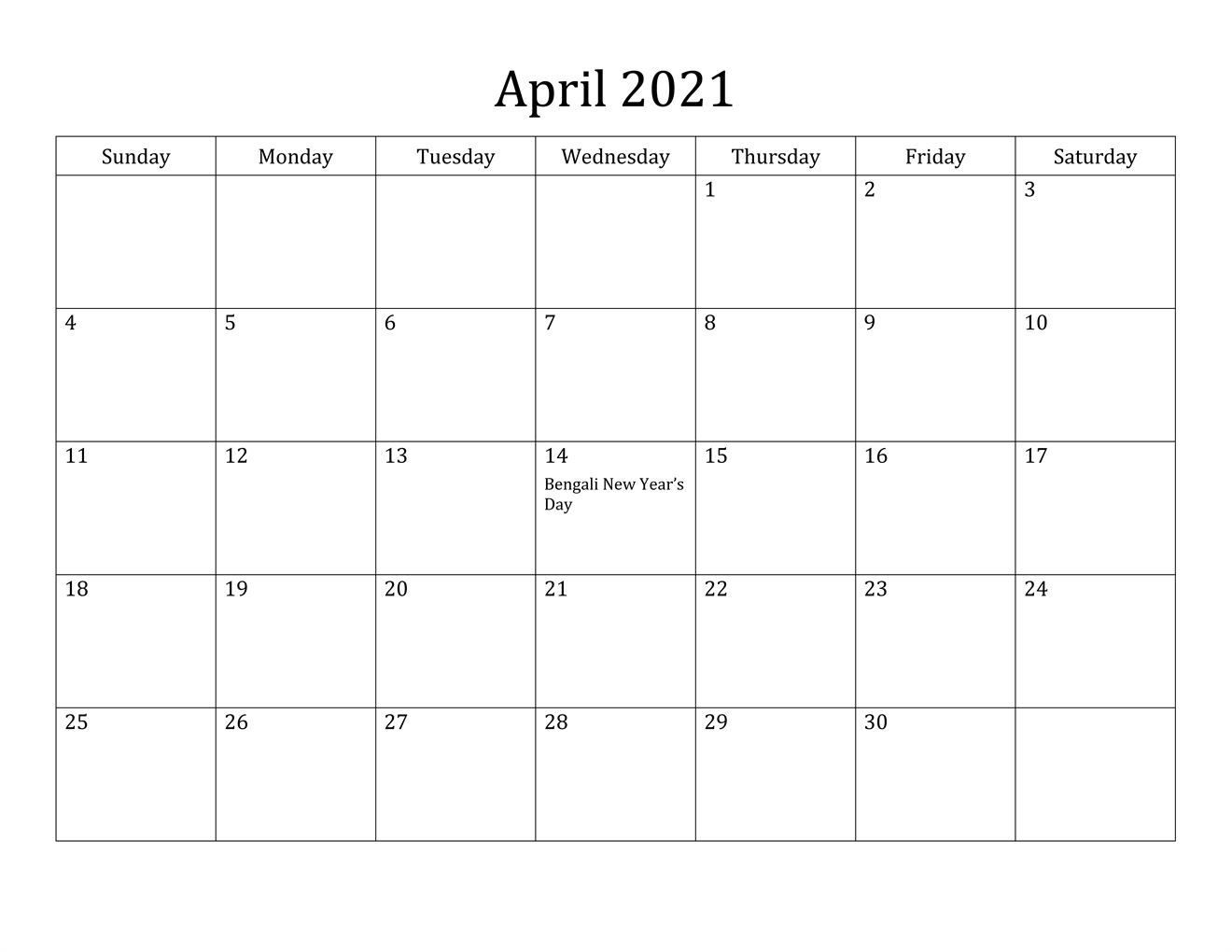 April 2021 Calendar Printable PDF