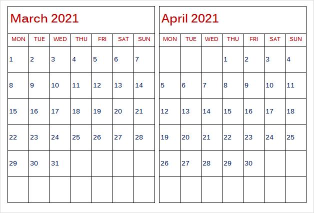April 2021 Calendar Printable Print