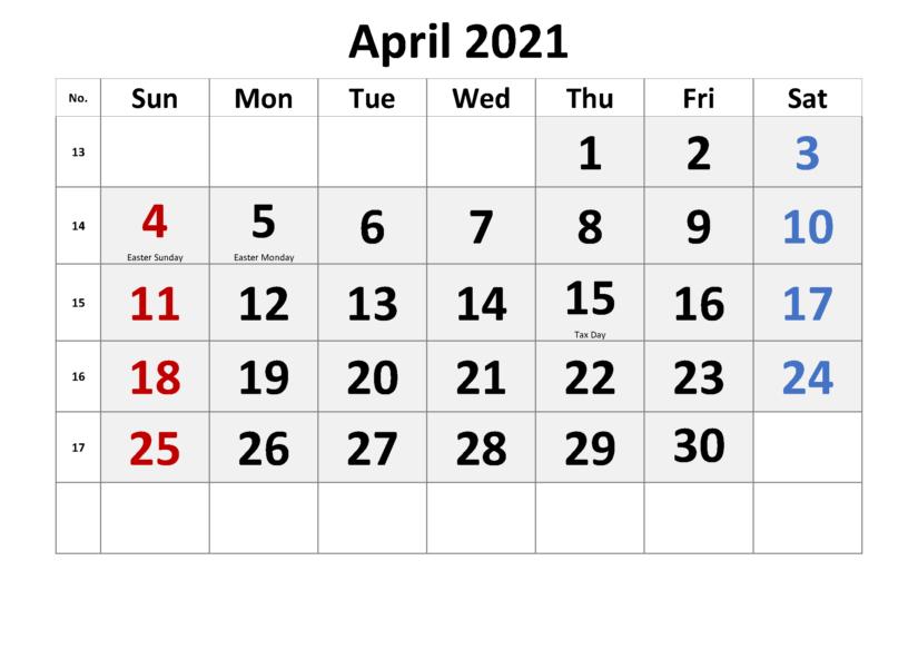 April 2021 Calendar Printable Waterproof