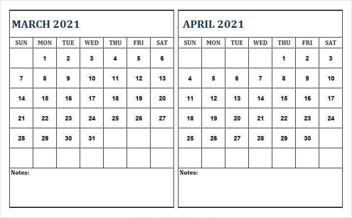 April 2021 Calendar Printable Word