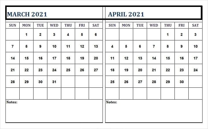 April 2021 Calendar Template USA