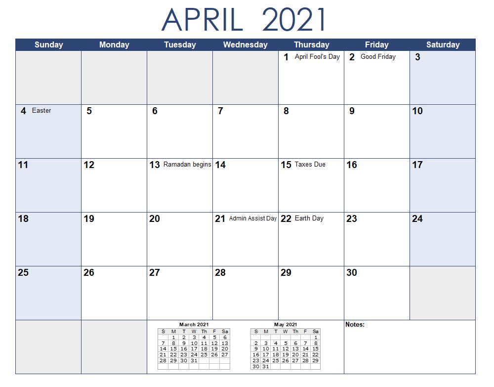 April 2021 Calendar Template With Holidays