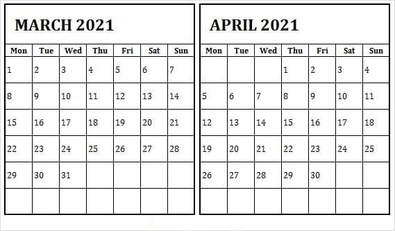 April 2021 Calendar Template for Meeting