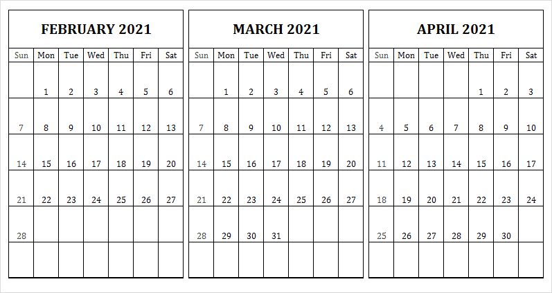 April 2021 Calendar Template for Mobile