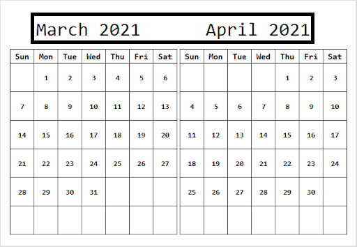 April 2021 Calendar With Summer Holidays