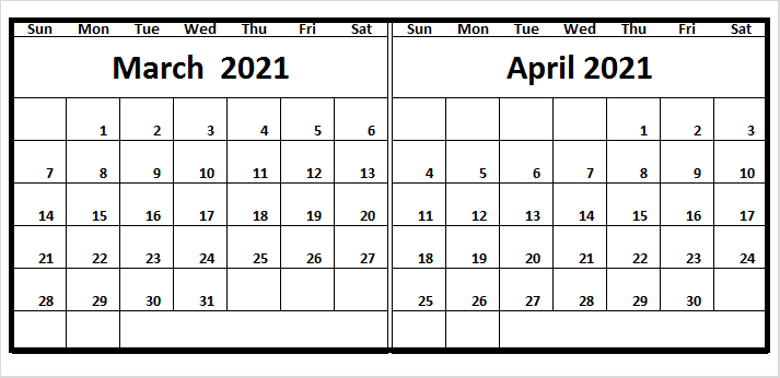 April 2021 Calendar With USA Holidays