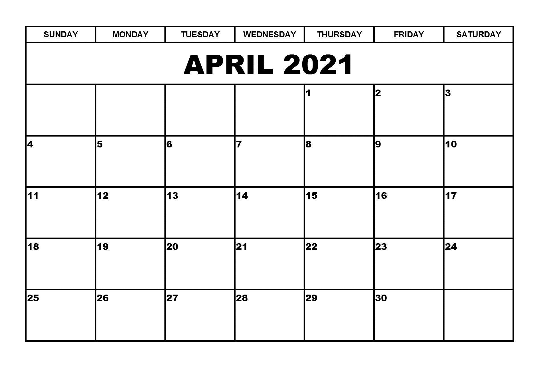 April 2021 Excel Calendar Template