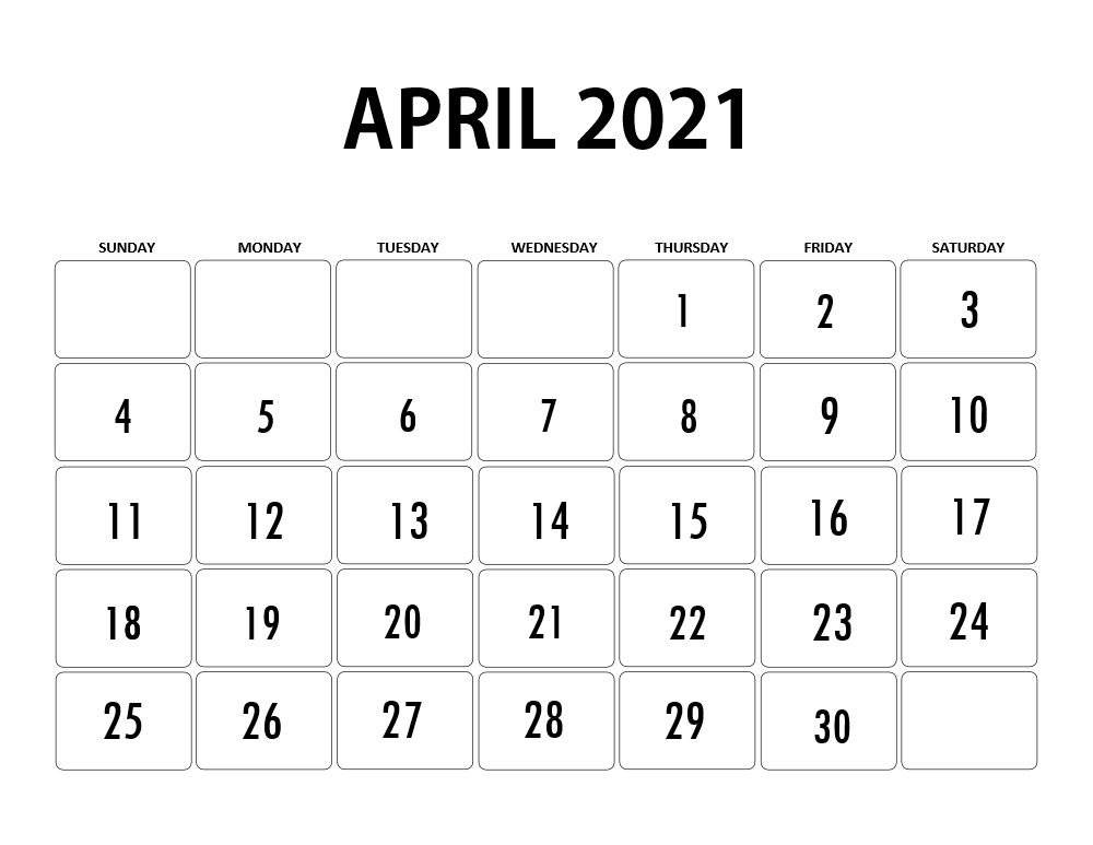 April 2021 Mobile Calendar Template