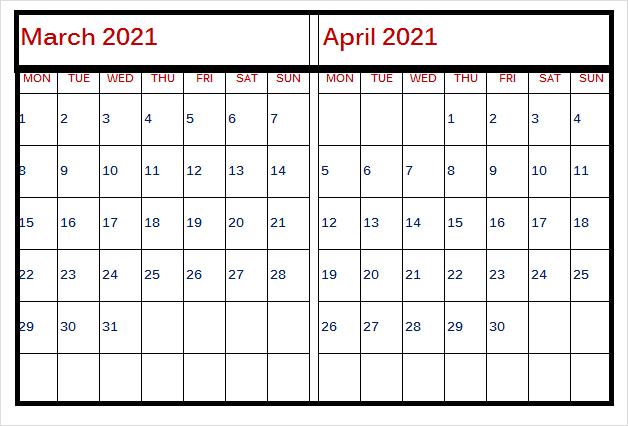 April 2021 Printable Calendar Africa