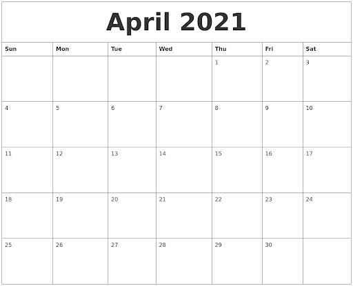 April 2021 Printable Calendar Australia