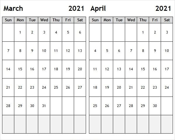 April 2021 Printable Calendar Blank