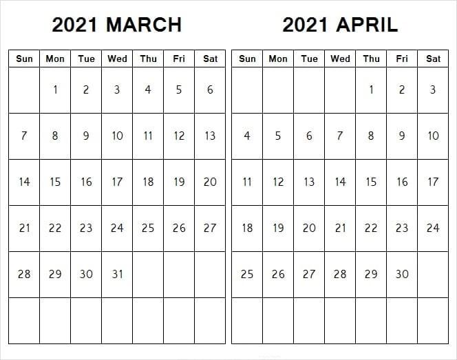 April 2021 Printable Calendar Canada