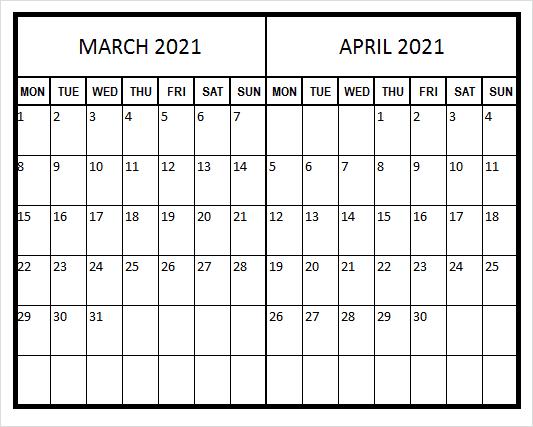 April 2021 Printable Calendar Excel