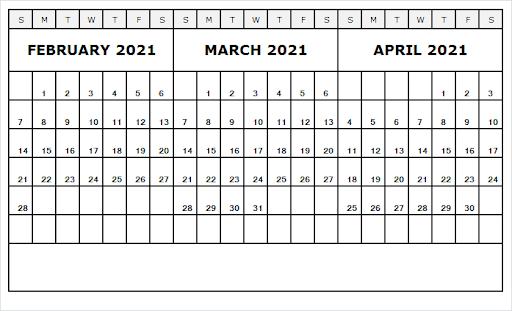 April 2021 Printable Calendar Notes