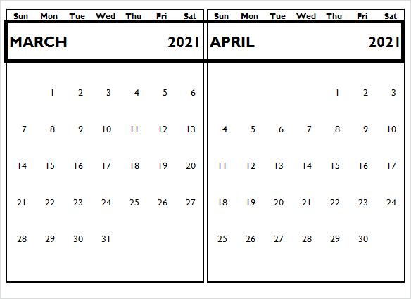 April 2021 Printable Calendar PDF