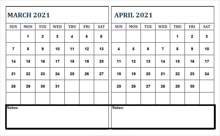 April 2021 Printable Calendar Print