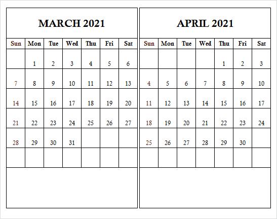 April 2021 Printable Calendar Template