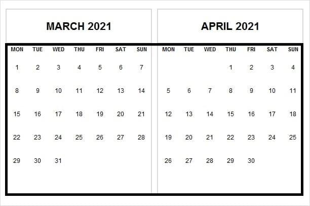 April 2021 Printable Calendar USA