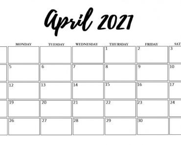 April 2021 Printable Calendar Waterproof