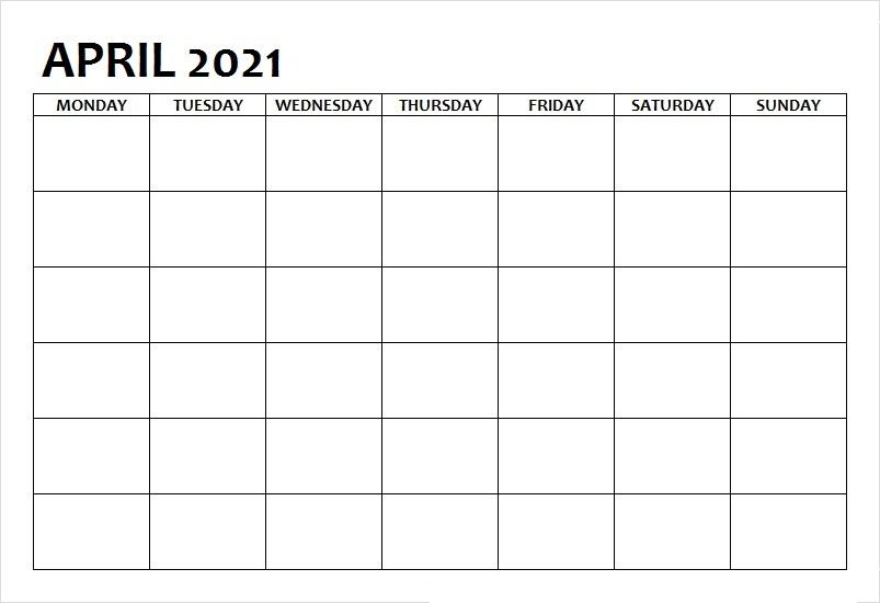 April 2021 Printable Calendar Wiki