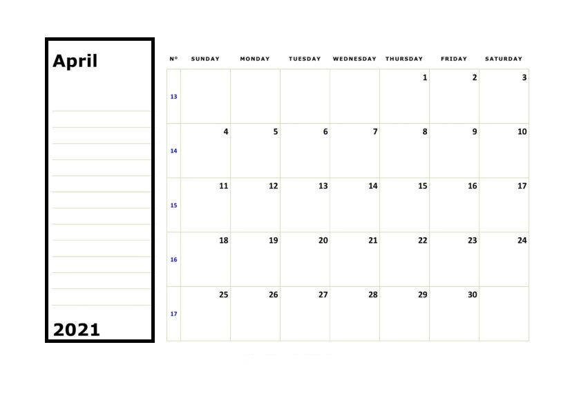 April 2021 Printable Calendar With Notes