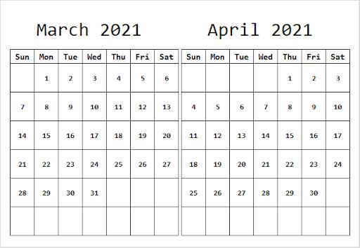 April 2021 Printable Calendar for Meetings