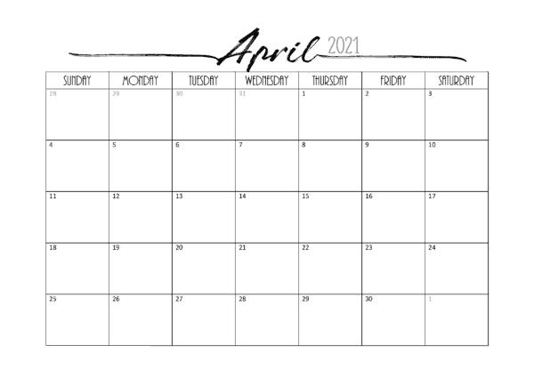 April 2021 Word Calendar Template