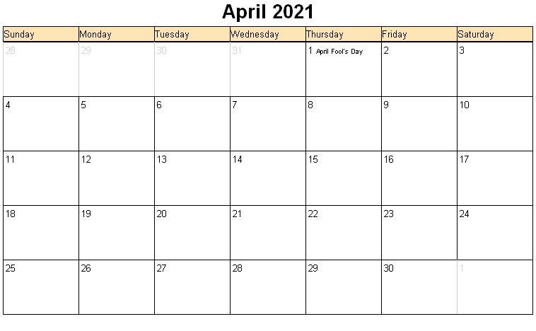 Blank April 2021 Calendar Printable