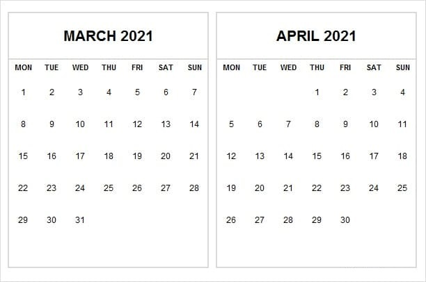 Printable April 2021 Calendar Blank