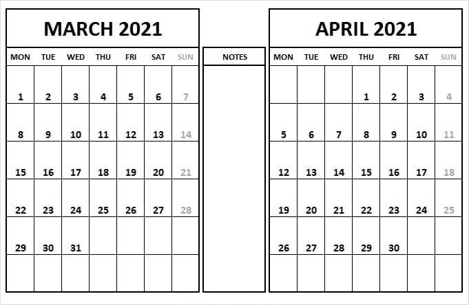 Printable April 2021 Calendar Excel
