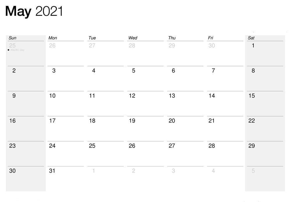 April May 2021 Calendar Editable