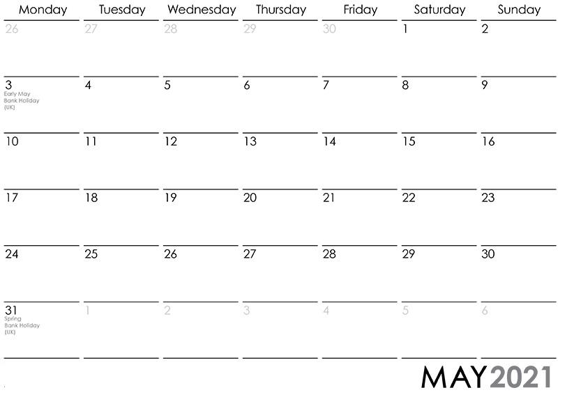 April May 2021 Calendar PDF
