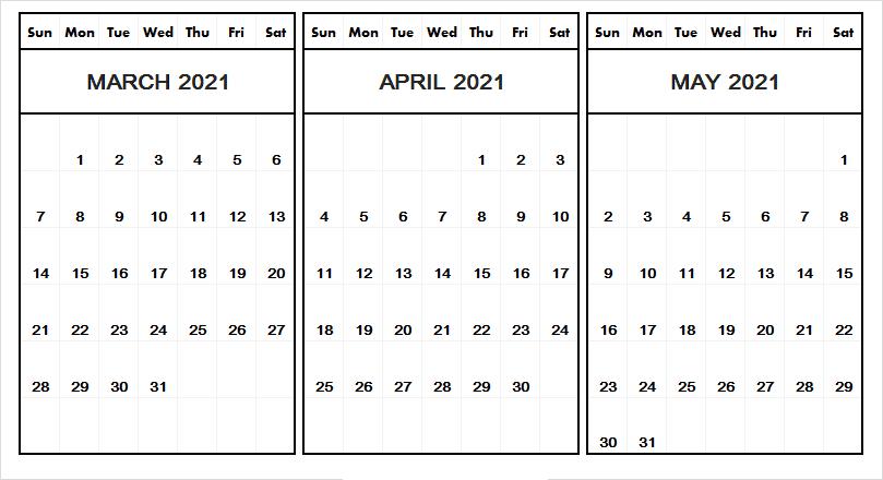 April May 2021 Calendar Printable