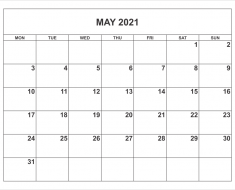 April May June 2021 Calendar Printable
