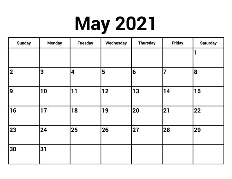 April May June 2021 Calendar